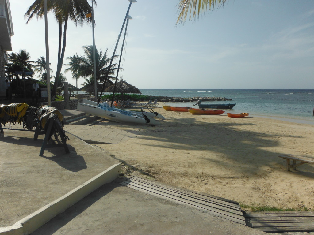 oneof the beach areas at holiday inn sunspree resort in Montego Bay, Jamaica